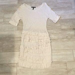 BCBG tan ruffle short sleeve dress